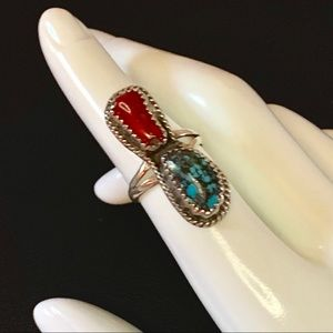 Vintage Turquoise & Coral NA Silver Ring Sz 6.5